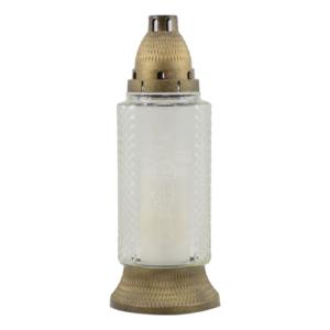 Znicz szklany, kolor: glass/biały, wys. 28 cm
